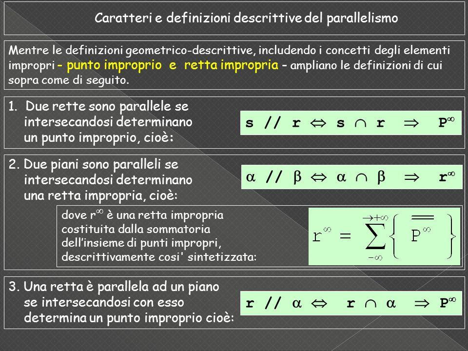 Caratteri e definizioni descrittive del parallelismo