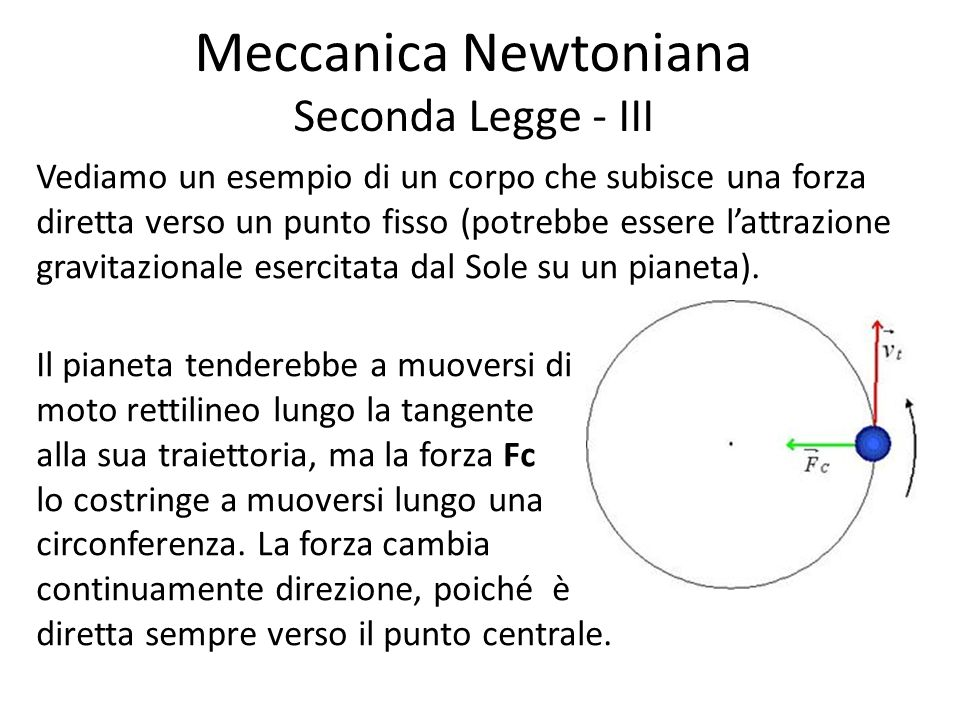 Meccanica Newtoniana Seconda Legge - III