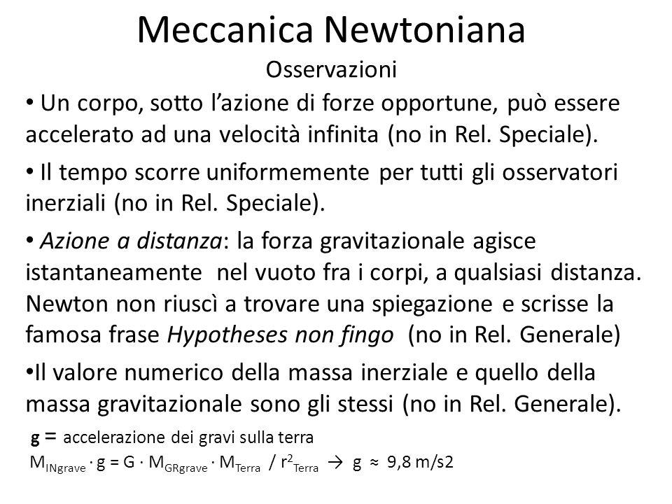 Meccanica Newtoniana Osservazioni
