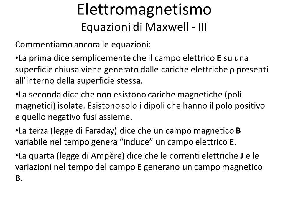 Elettromagnetismo Equazioni di Maxwell - III