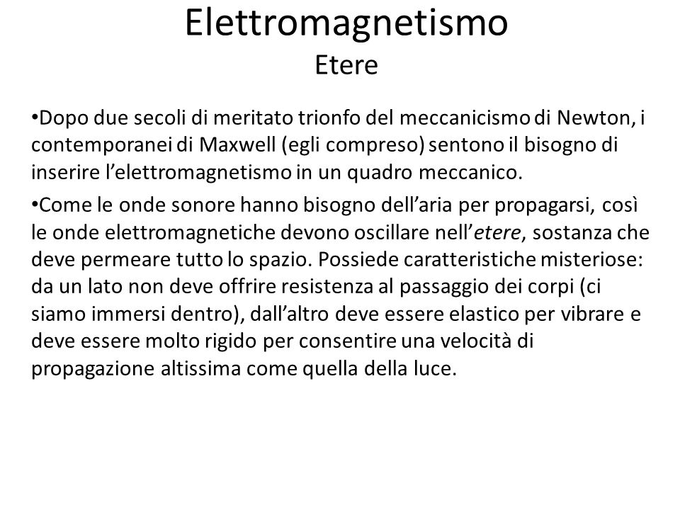 Elettromagnetismo Etere