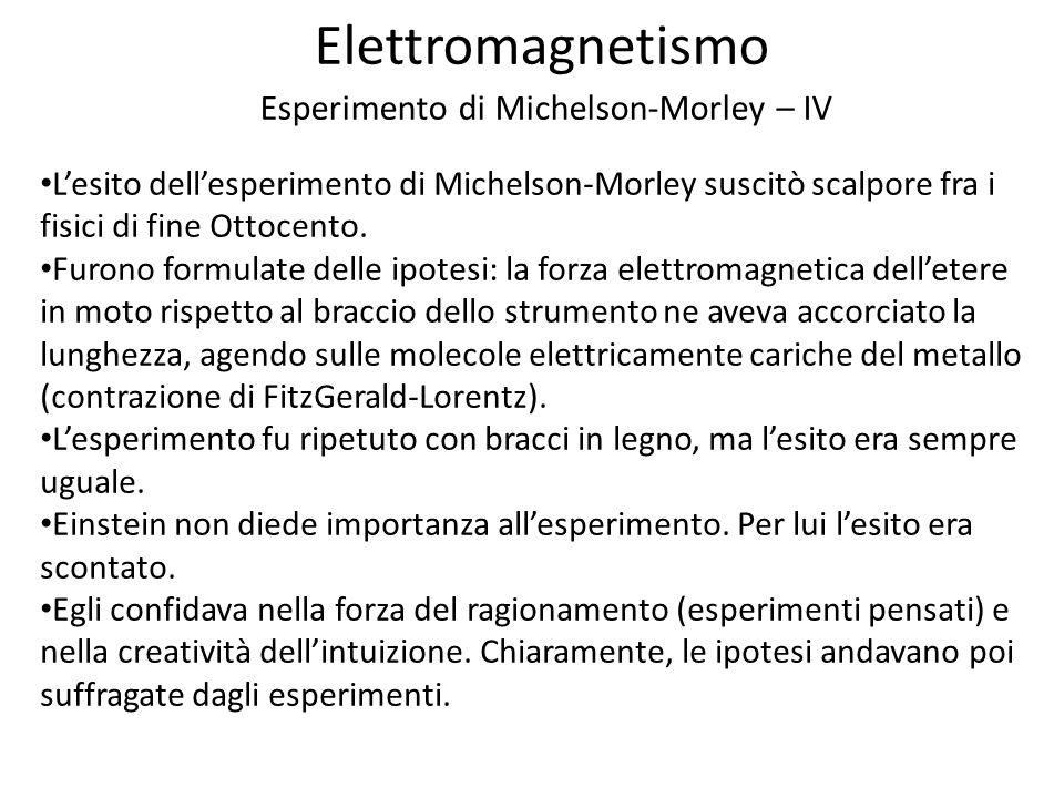Elettromagnetismo Esperimento di Michelson-Morley – IV