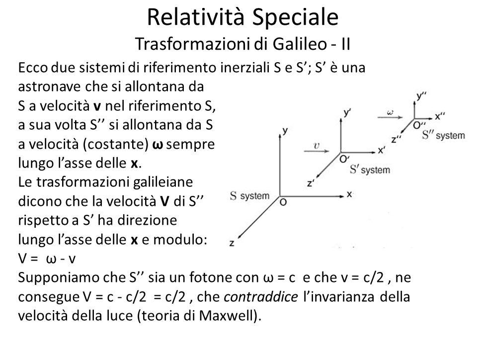 Relatività Speciale Trasformazioni di Galileo - II
