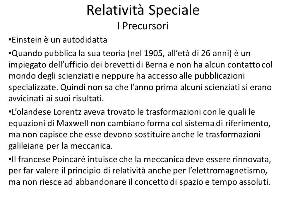 Relatività Speciale I Precursori