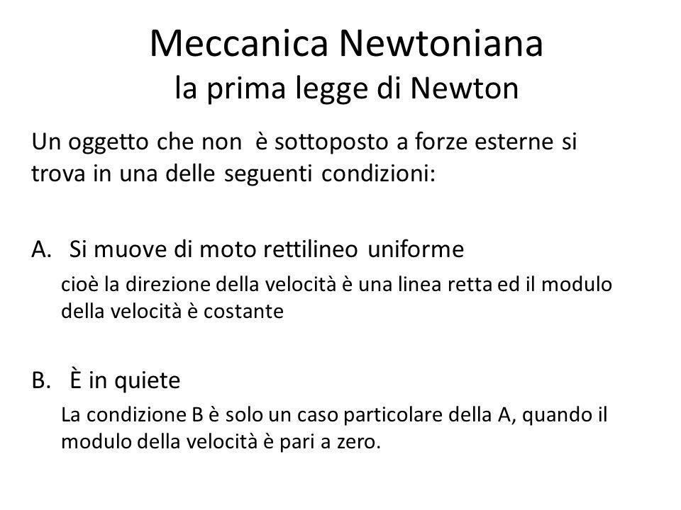 Meccanica Newtoniana la prima legge di Newton