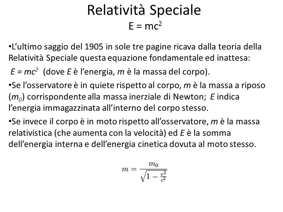 Relatività Speciale E = mc2