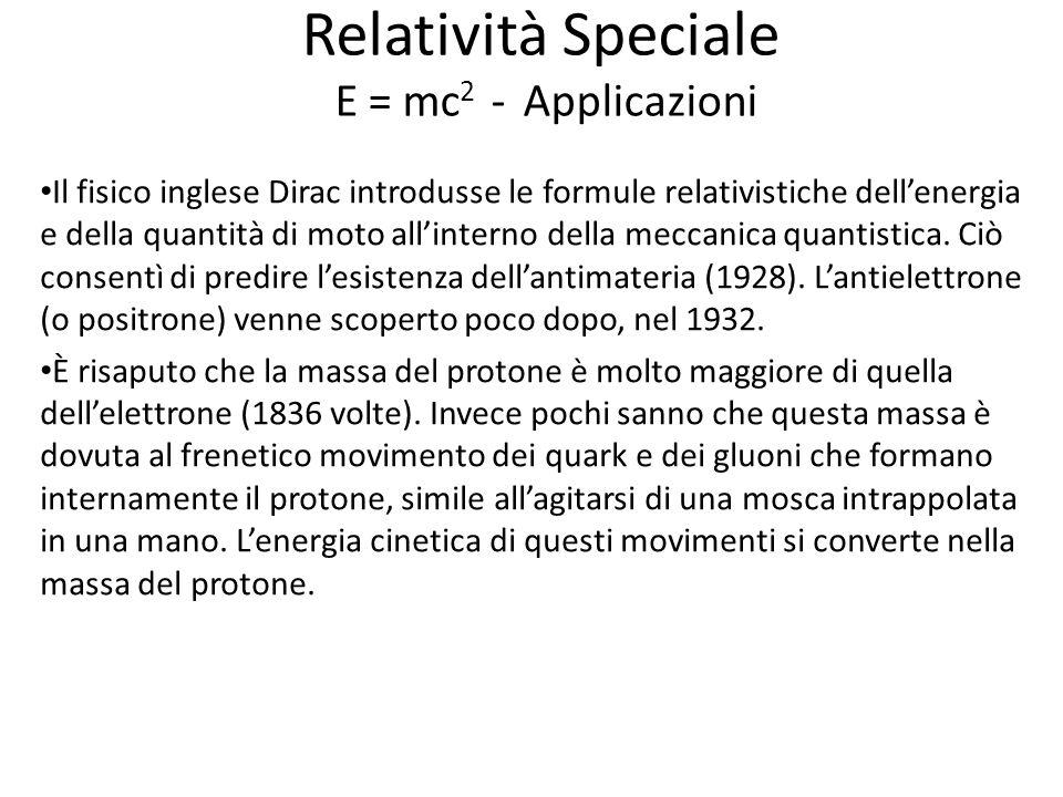 Relatività Speciale E = mc2 - Applicazioni