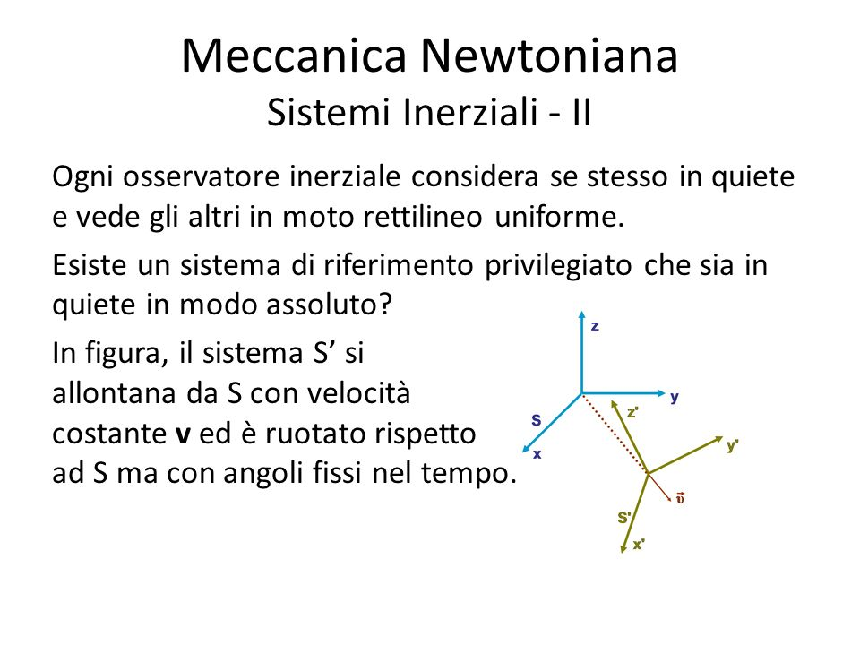 Meccanica Newtoniana Sistemi Inerziali - II