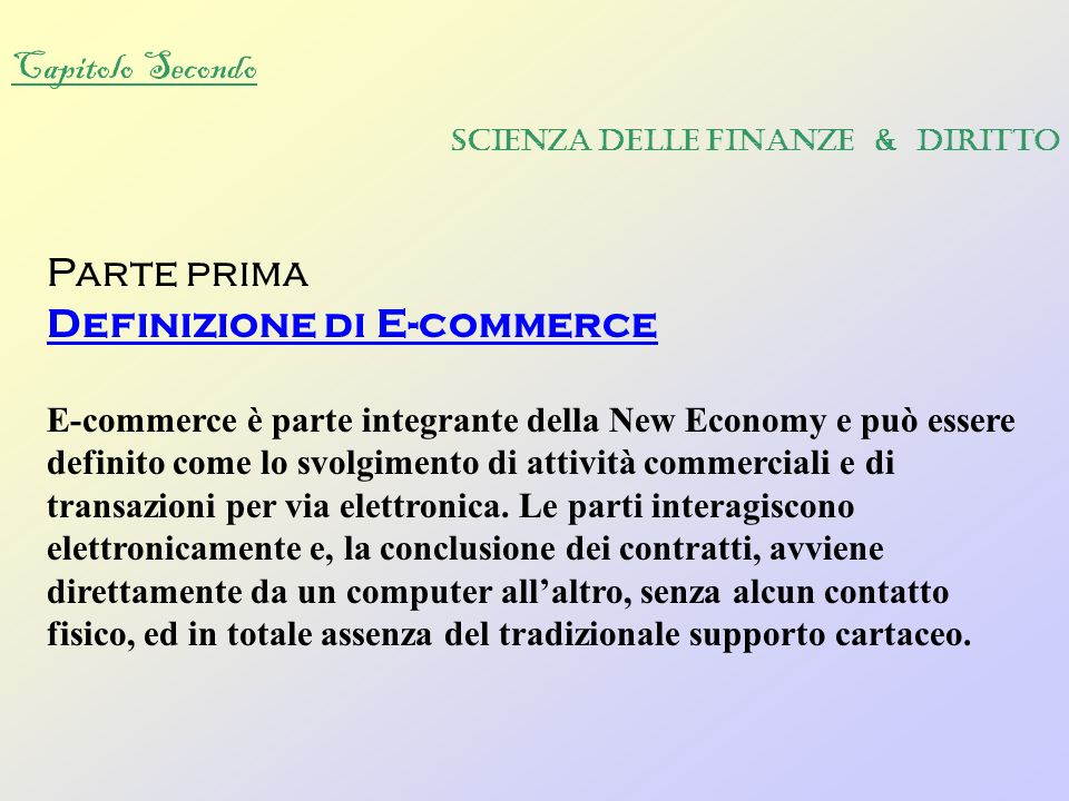 Definizione di E-commerce