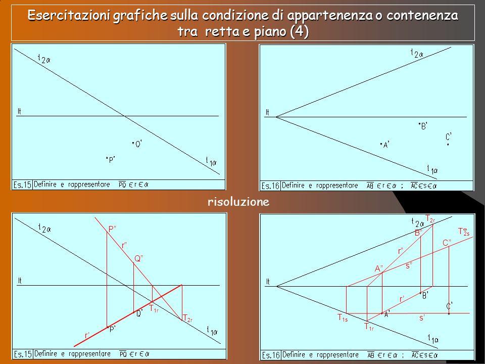 Esercitazioni grafiche sulla condizione di appartenenza o contenenza tra retta e piano (4)