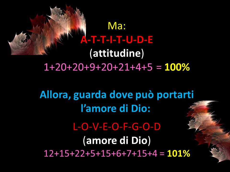 A-T-T-I-T-U-D-E (attitudine) 1+20+20+9+20+21+4+5 = 100%