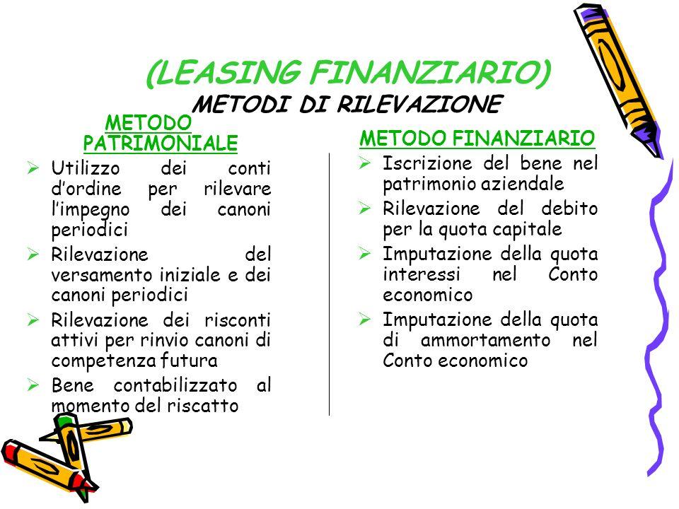 (LEASING FINANZIARIO) METODI DI RILEVAZIONE
