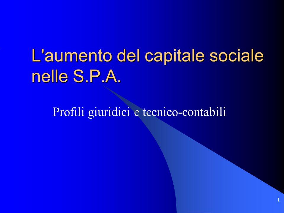 L aumento del capitale sociale nelle S.P.A.
