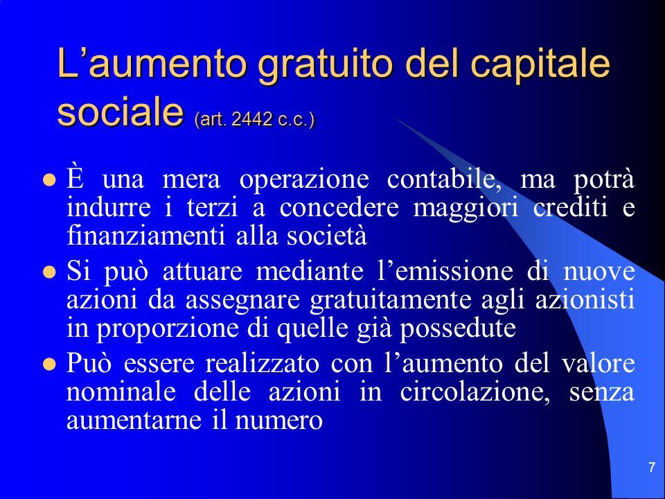 L'aumento gratuito del capitale sociale (art. 2442 c.c.)