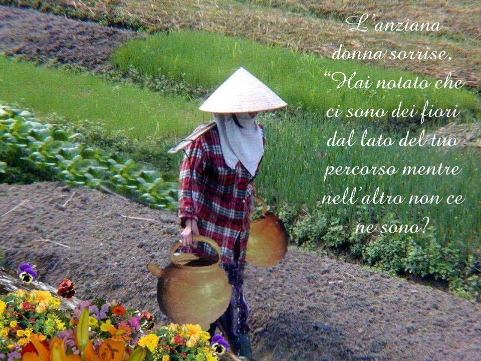 L'anziana donna sorrise, Hai notato che ci sono dei fiori dal lato del tuo percorso mentre nell'altro non ce ne sono