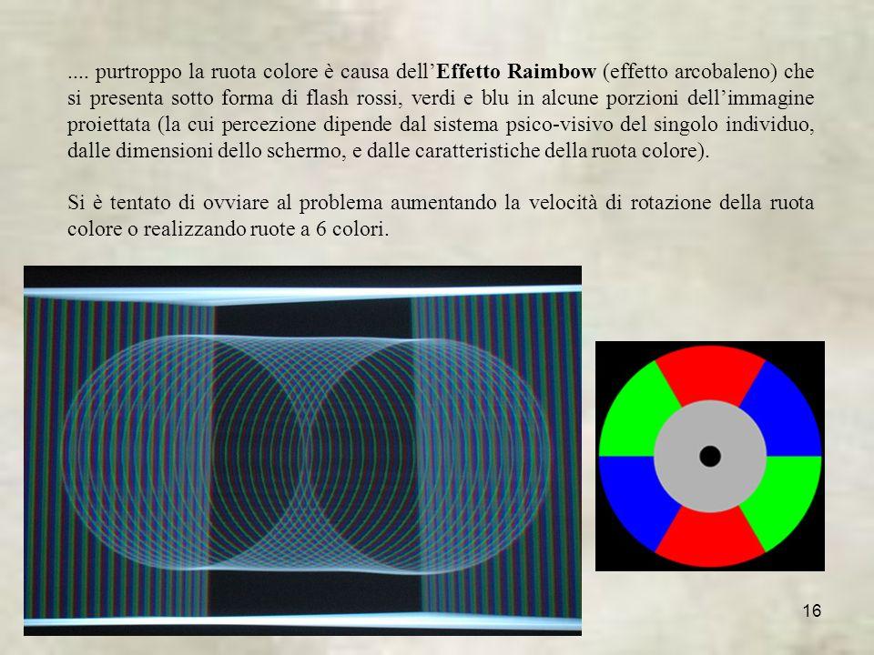 .... purtroppo la ruota colore è causa dell'Effetto Raimbow (effetto arcobaleno) che si presenta sotto forma di flash rossi, verdi e blu in alcune porzioni dell'immagine proiettata (la cui percezione dipende dal sistema psico-visivo del singolo individuo, dalle dimensioni dello schermo, e dalle caratteristiche della ruota colore).