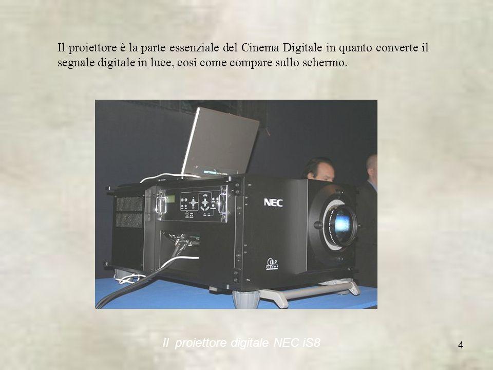 Il proiettore è la parte essenziale del Cinema Digitale in quanto converte il segnale digitale in luce, così come compare sullo schermo.