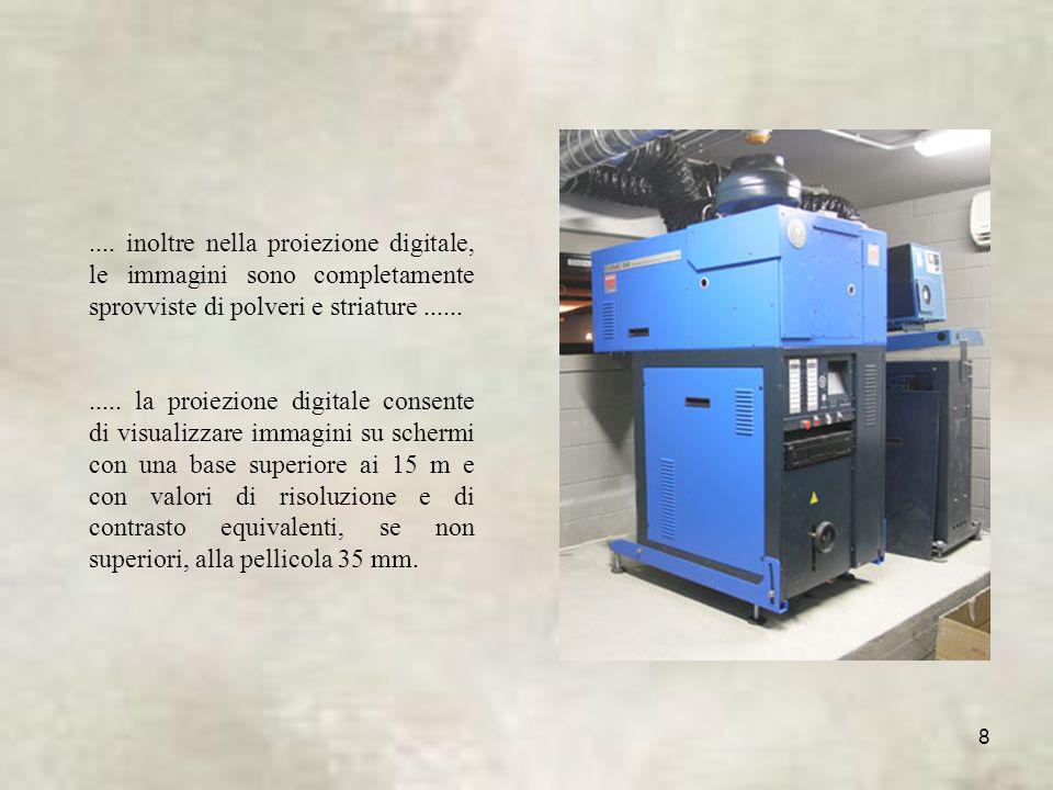 .... inoltre nella proiezione digitale, le immagini sono completamente sprovviste di polveri e striature ......