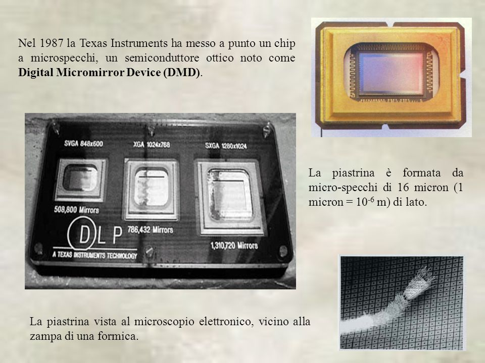 Nel 1987 la Texas Instruments ha messo a punto un chip a microspecchi, un semiconduttore ottico noto come Digital Micromirror Device (DMD).