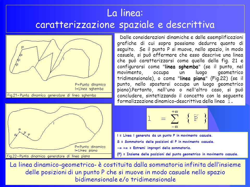 La linea: caratterizzazione spaziale e descrittiva