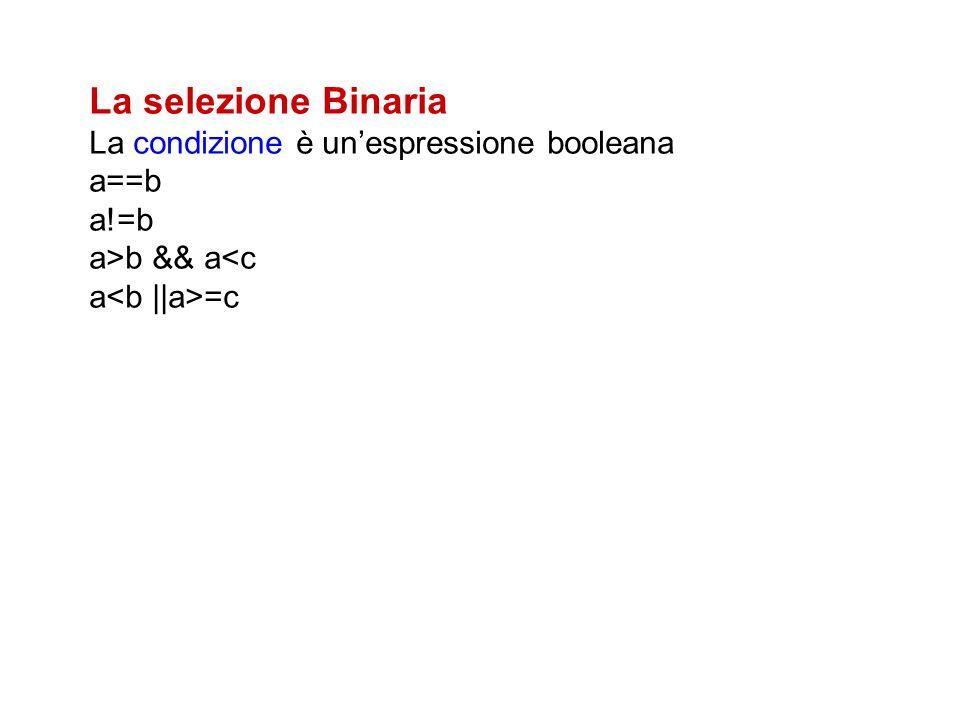 La selezione Binaria La condizione è un'espressione booleana a==b a!=b