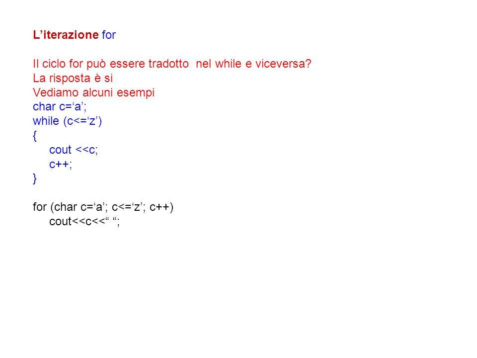 L'iterazione for Il ciclo for può essere tradotto nel while e viceversa La risposta è si. Vediamo alcuni esempi.