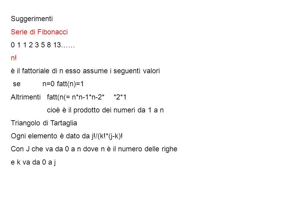 Suggerimenti Serie di Fibonacci. 0 1 1 2 3 5 8 13…… n! è il fattoriale di n esso assume i seguenti valori.