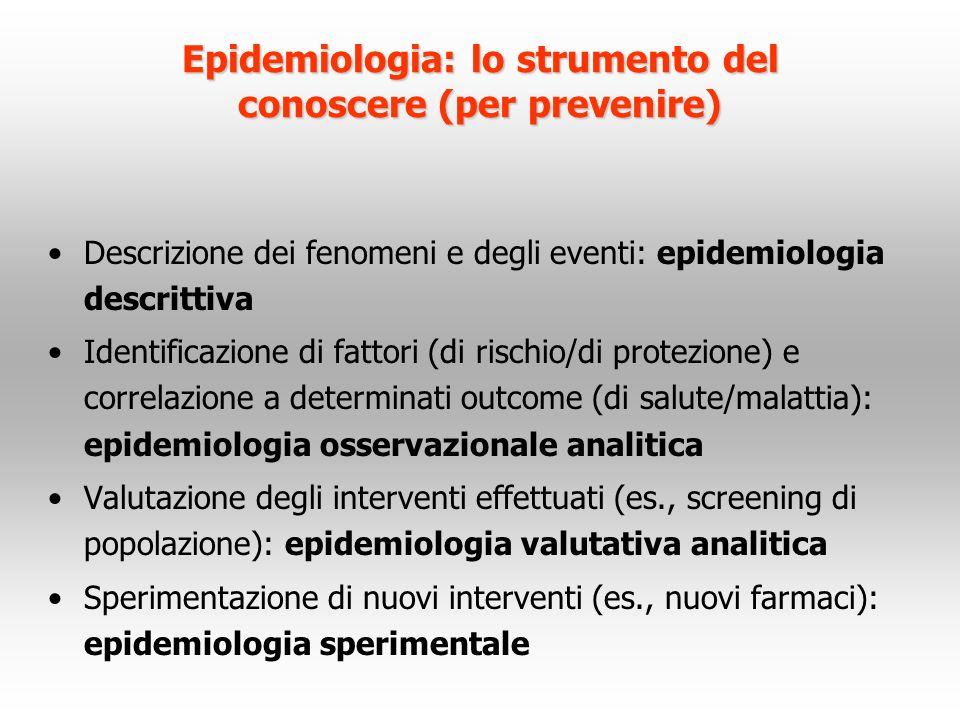 Epidemiologia: lo strumento del conoscere (per prevenire)