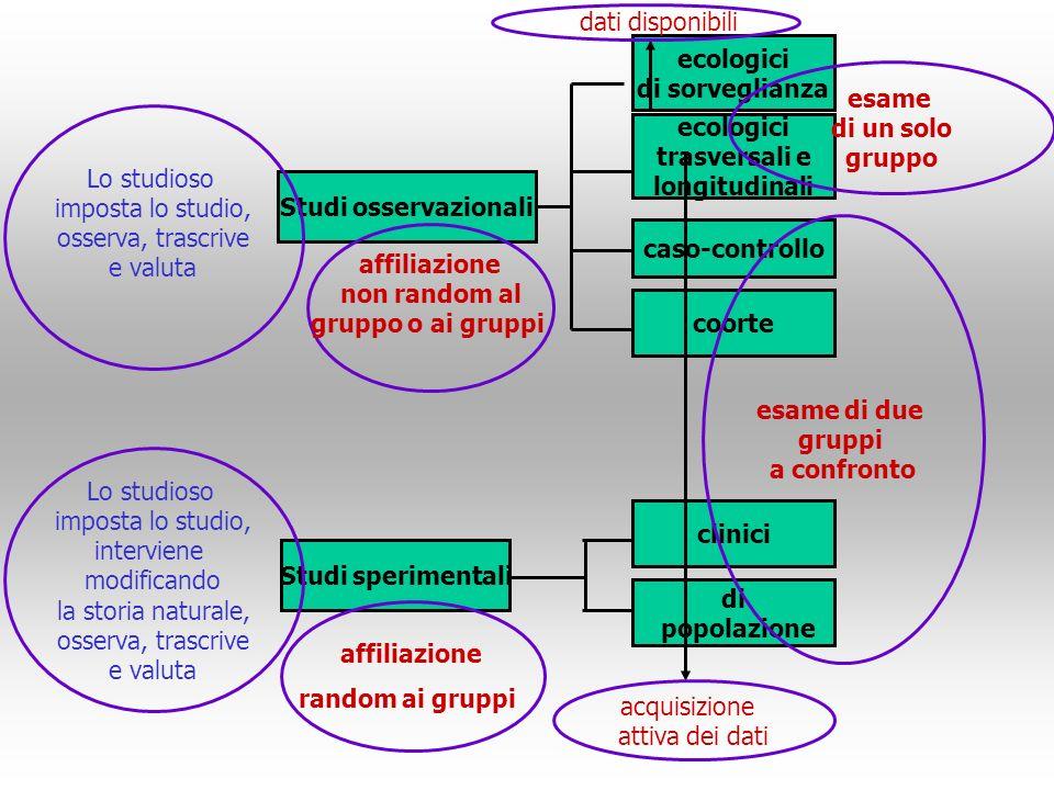 dati disponibili ecologici. di sorveglianza. esame. di un solo. gruppo. Lo studioso. imposta lo studio,