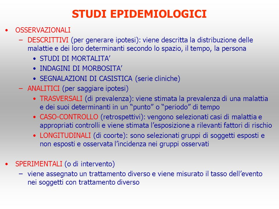 STUDI EPIDEMIOLOGICI OSSERVAZIONALI
