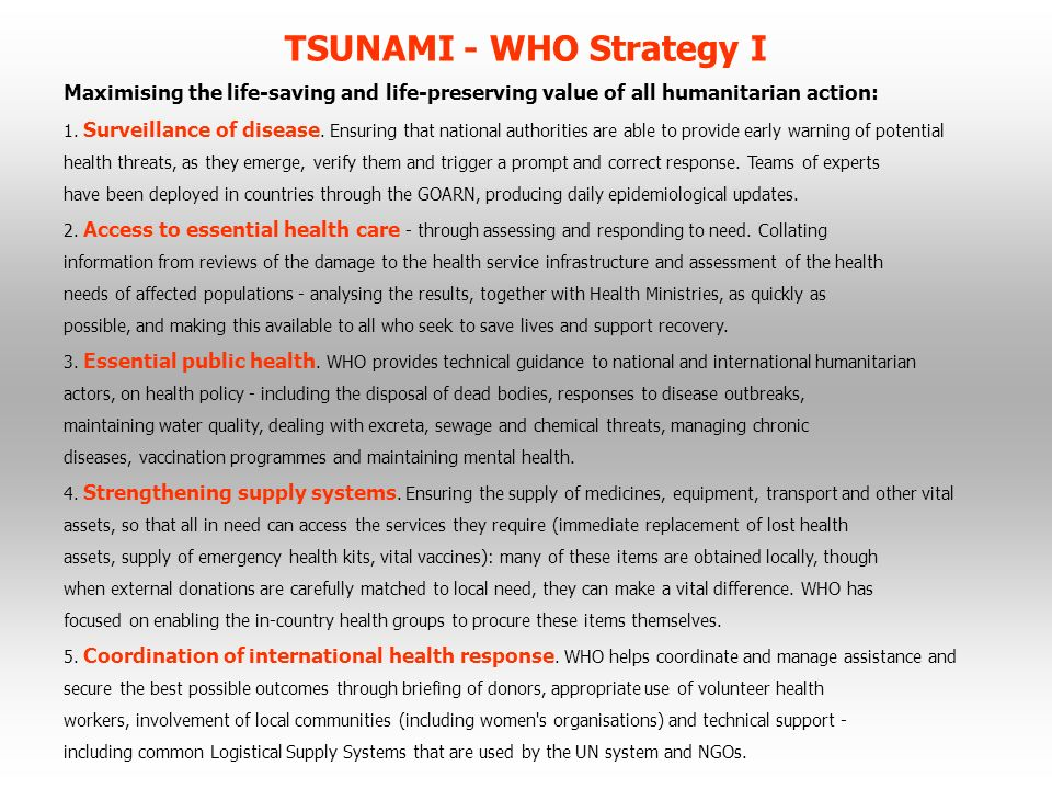 TSUNAMI - WHO Strategy I