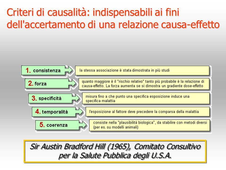 Criteri di causalità: indispensabili ai fini dell accertamento di una relazione causa-effetto
