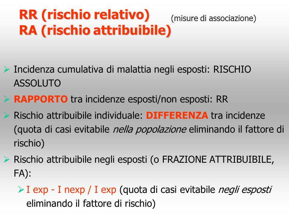 RR (rischio relativo) RA (rischio attribuibile)