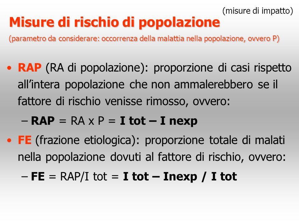 (misure di impatto) Misure di rischio di popolazione (parametro da considerare: occorrenza della malattia nella popolazione, ovvero P)