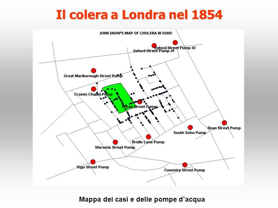 Il colera a Londra nel 1854 Mappa dei casi e delle pompe d'acqua