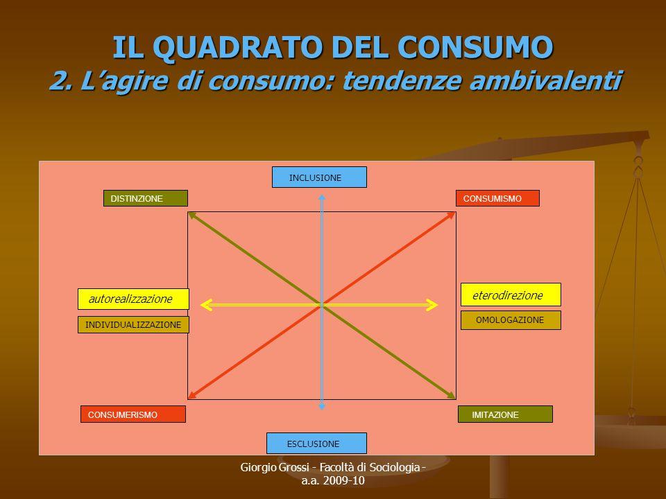 IL QUADRATO DEL CONSUMO 2. L'agire di consumo: tendenze ambivalenti