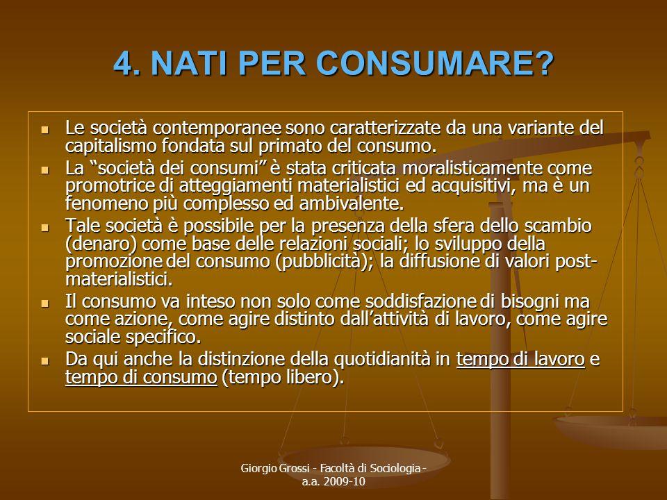 Giorgio Grossi - Facoltà di Sociologia - a.a. 2009-10