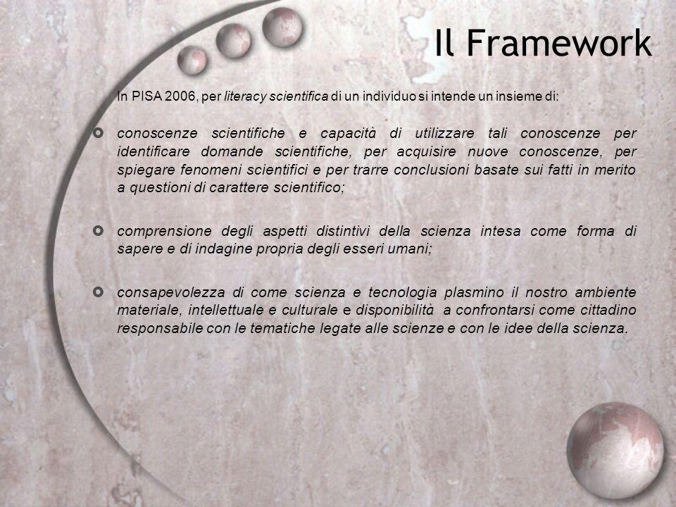 Il Framework In PISA 2006, per literacy scientifica di un individuo si intende un insieme di: