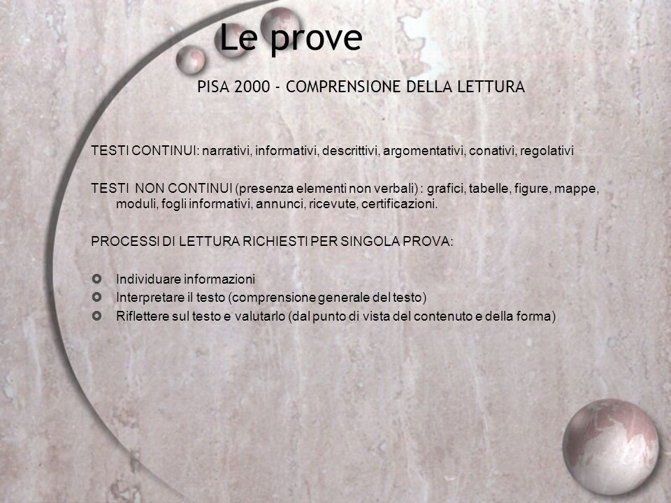 PISA 2000 - COMPRENSIONE DELLA LETTURA
