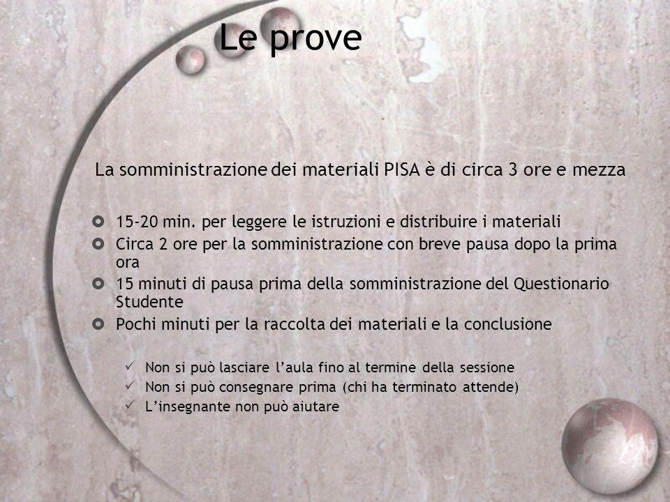 La somministrazione dei materiali PISA è di circa 3 ore e mezza