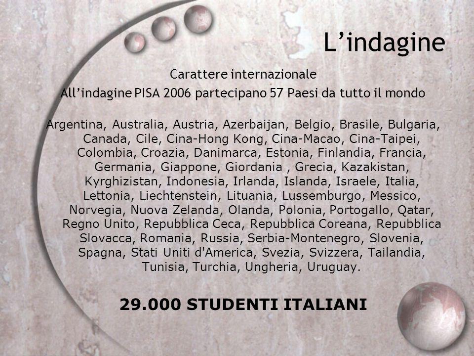L'indagine 29.000 STUDENTI ITALIANI Carattere internazionale