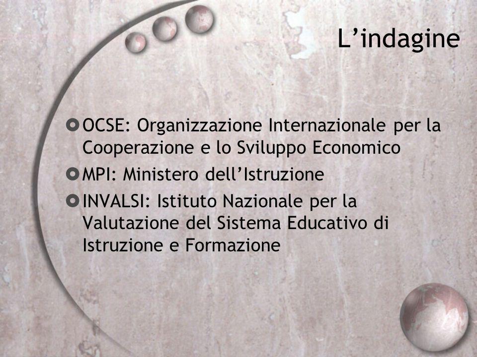L'indagine OCSE: Organizzazione Internazionale per la Cooperazione e lo Sviluppo Economico. MPI: Ministero dell'Istruzione.