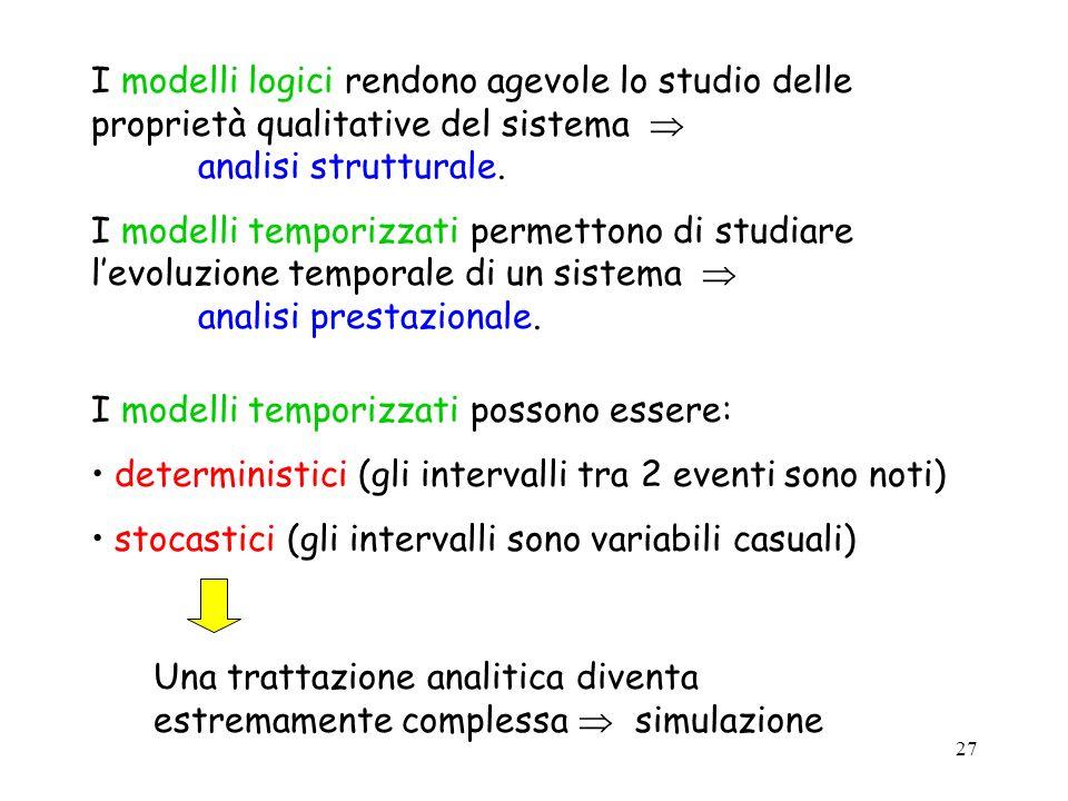 I modelli logici rendono agevole lo studio delle proprietà qualitative del sistema  analisi strutturale.