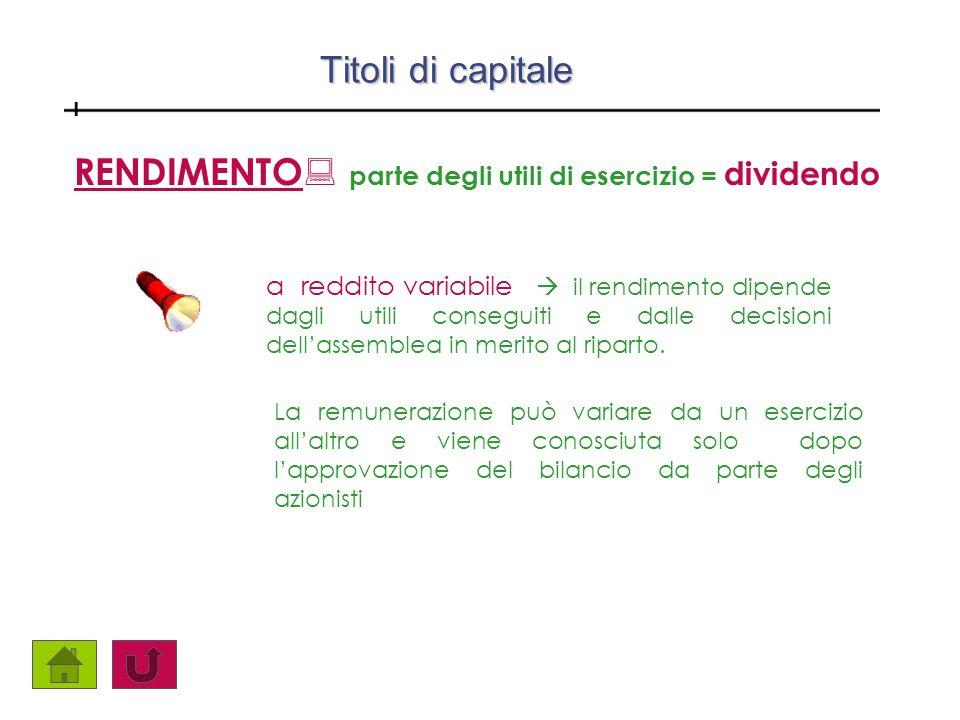 RENDIMENTO: parte degli utili di esercizio = dividendo