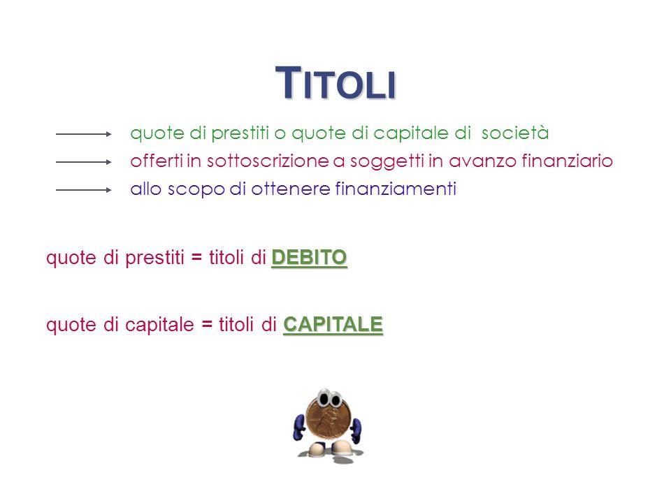 TITOLI quote di prestiti = titoli di DEBITO