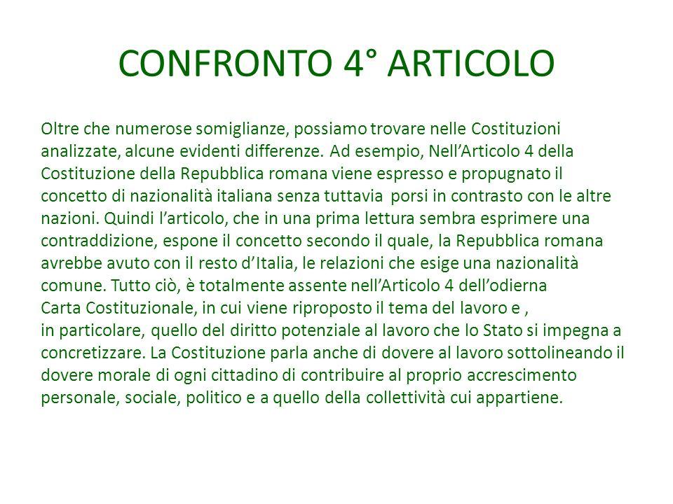 CONFRONTO 4° ARTICOLO Oltre che numerose somiglianze, possiamo trovare nelle Costituzioni.
