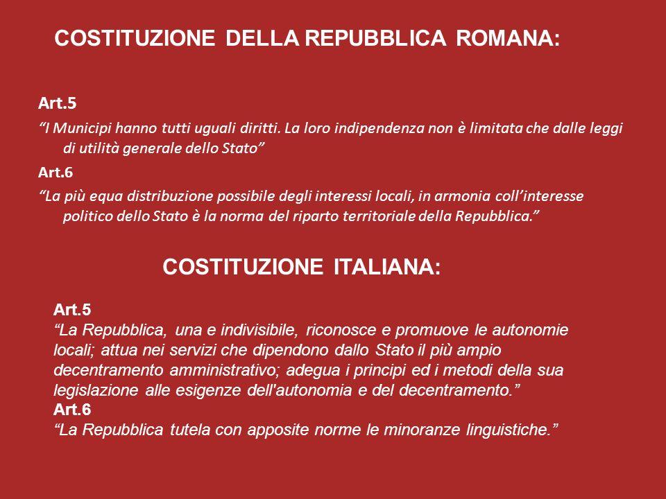 COSTITUZIONE DELLA REPUBBLICA ROMANA: COSTITUZIONE ITALIANA: