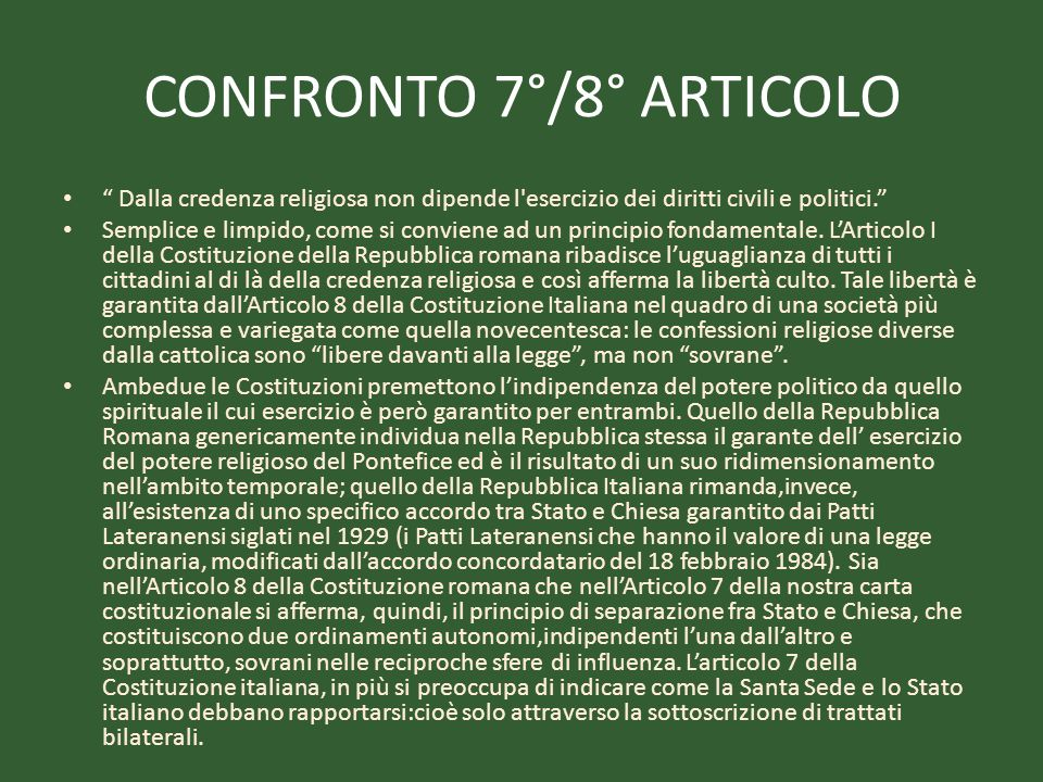 CONFRONTO 7°/8° ARTICOLO