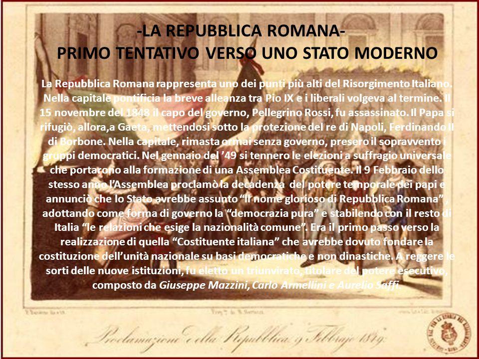 -LA REPUBBLICA ROMANA- PRIMO TENTATIVO VERSO UNO STATO MODERNO