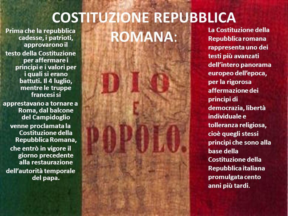 COSTITUZIONE REPUBBLICA ROMANA: